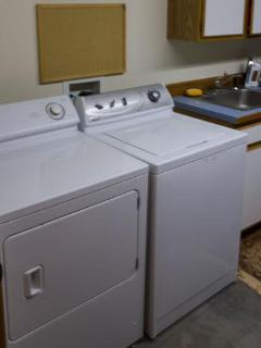Washer & dryer, sink, detergent, and cleaners.