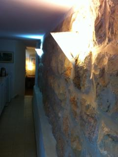 A stone wall in the apartment