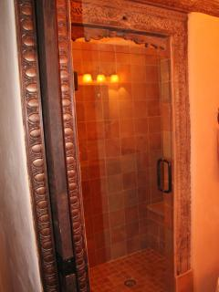 Master bath, walk-in shower (in laid wood features)