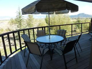 Wrap around deck with views across the valley to the Gros Ventre mountain range