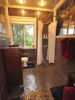 root beer glass tiles, rain shower head