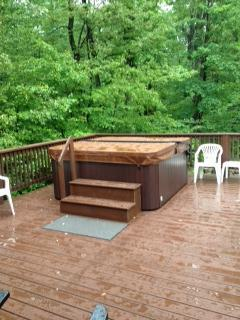 Back Deck with Hot Tub.