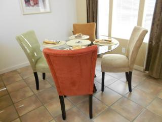 Dine in and enjoy the contemporary glass circular table
