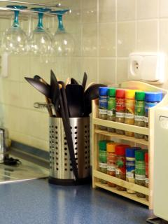 Kitchen counters full of utensils, spices, ...