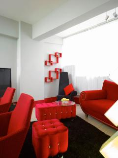 big red colored sofa, couch and chairs