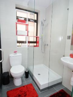 Modern bathrooms with walk-in shower, enjoy it to relax during a hot summer in Hong Kong