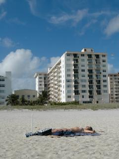 This is the building ... as you can see its ON the BEACH.  From the balcony you can see the beach.
