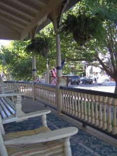 Front porch-- wide corner lot surrounded by beautiful Victorian homes/B&Bs
