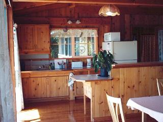 Kitchen, just inside outdoor deck