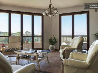 From the sunny and spacious living room you can view a vineyard and chat.