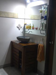Powder Room with wash basin, mirror, hair dryer