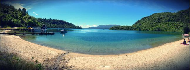 The beautiful lake Tarawera 5 mins walk away