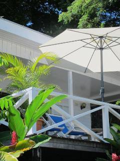 Umbrella & deckchairs