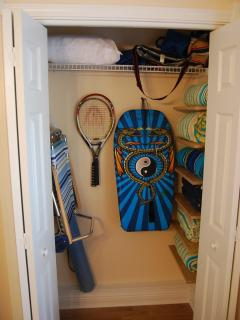 Beach items stored in guest bedroom