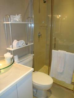 bathroom with glass shower, sink