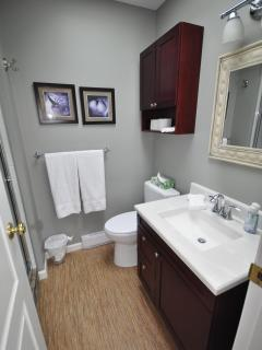 The upper level main bathroom was renovated in 2012/1013 and has a large walk-in tiled shower