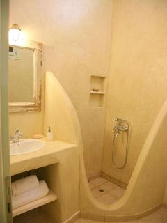 A second bathroom with shower