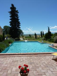 Pool view towards the Sibillini Mountains