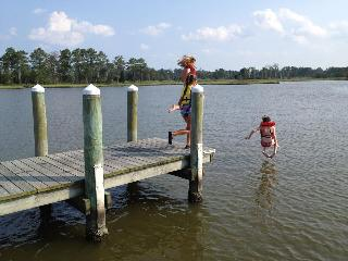Kids jumping off fishing pier