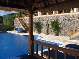 The 7 by 15 meter pool with ample seating and lounging