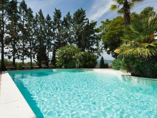 Pool set in Mediterranean garden with panoramic view
