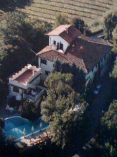 aerial view of Casa Padronale, Il Castellino and pool