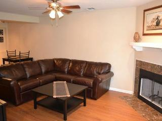 Couch and Woodburning Fireplace