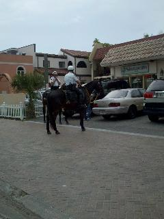 Police on Horses in the Village