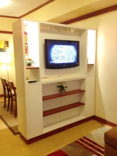 32' Flatscreen Cable TV facing the living area