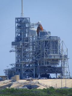 Shuttle on launch pad, Kennedy Space Centre