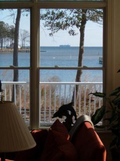 Bay View through Great Room - ship passing by in channel!