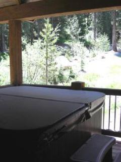Hot Tub on Back Deck overlooks Jane Creek and the National Forest