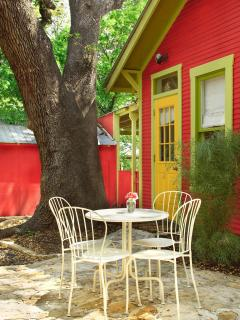 Enjoy an iced tea or margarita on the back patio