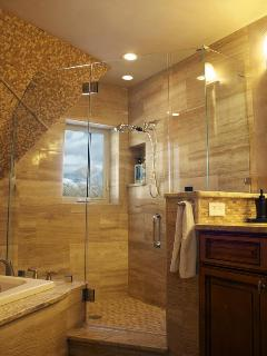 Separate stall shower with a view