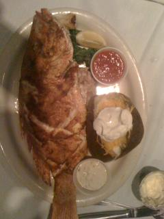 Whole Snapper!  Fresh Seafood is always available on SPI! Most restaurants will cook your catch!
