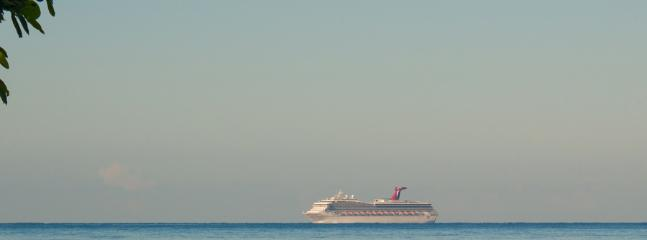 At dawn and dusk, watch for the comings and goings of a cruise ship.