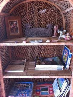 Bamboo etagere' in living room wlecomes you with Caribbean books and hiking trail maps,St. John info