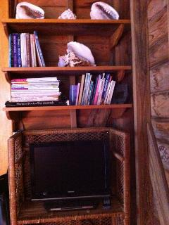 Living room bamboo etagere' holds books, magazines, TV/DVD player (no TV reception/DVD only)