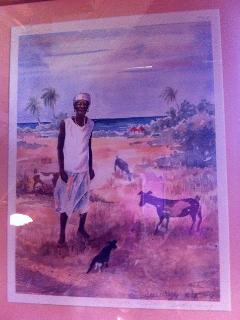 'Jenny', a painting by Nevis artist of a legendary goat woman; CBER was once a home for rescue goats