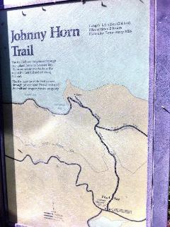 Map/sign at the Johnny Horn Trailhead; 1.5 miles to Leinster Bay