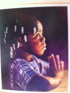 Painting by Bahamian artist of Little Girl in Prayer
