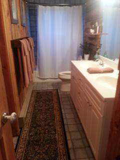 Main floor bathroom, shower/tub combo, double sink, ceramic tile