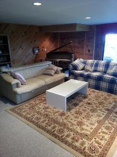 Lower family room, cream sleeper sofa, ground level entrance