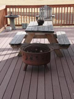 Picnic table on front deck
