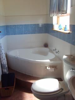 Bathroom with a cornerbath and shower.