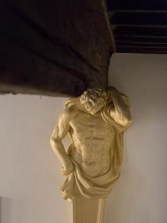 particular statue on the living room's ceiling.