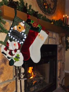 FIREPLACE DRESSED FOR CHRISTMAS