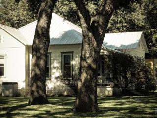 Smithville Cottage is surrounded by oak trees.