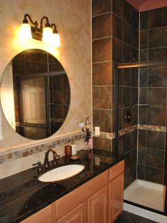 Separate Shower and Jacuzzi in the Master's suite, Black Granite Counter Top and Designer's Tiles