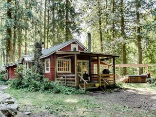 Quiet, dog-friendly, riverfront cabin with outdoor fireplace & private hot tub!